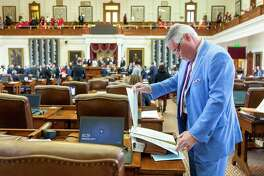 State Rep. Dan Huberty, R-Houston, prepares to speak on House Bill 3 at his desk in the House Chamber at the Texas Capitol in Austin, Wednesday, April 3, 2019.(Stephen Spillman / for Express-News)