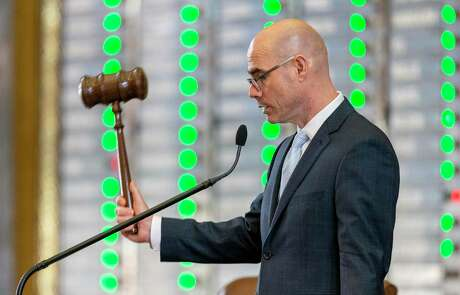Speaker of the House Dennis Bonnen, R-Angleton, presides over an amendment vote to House Bill 3 at the Texas Capitol in Austin, Wednesday, April 3, 2019.(Stephen Spillman / for Express-News)