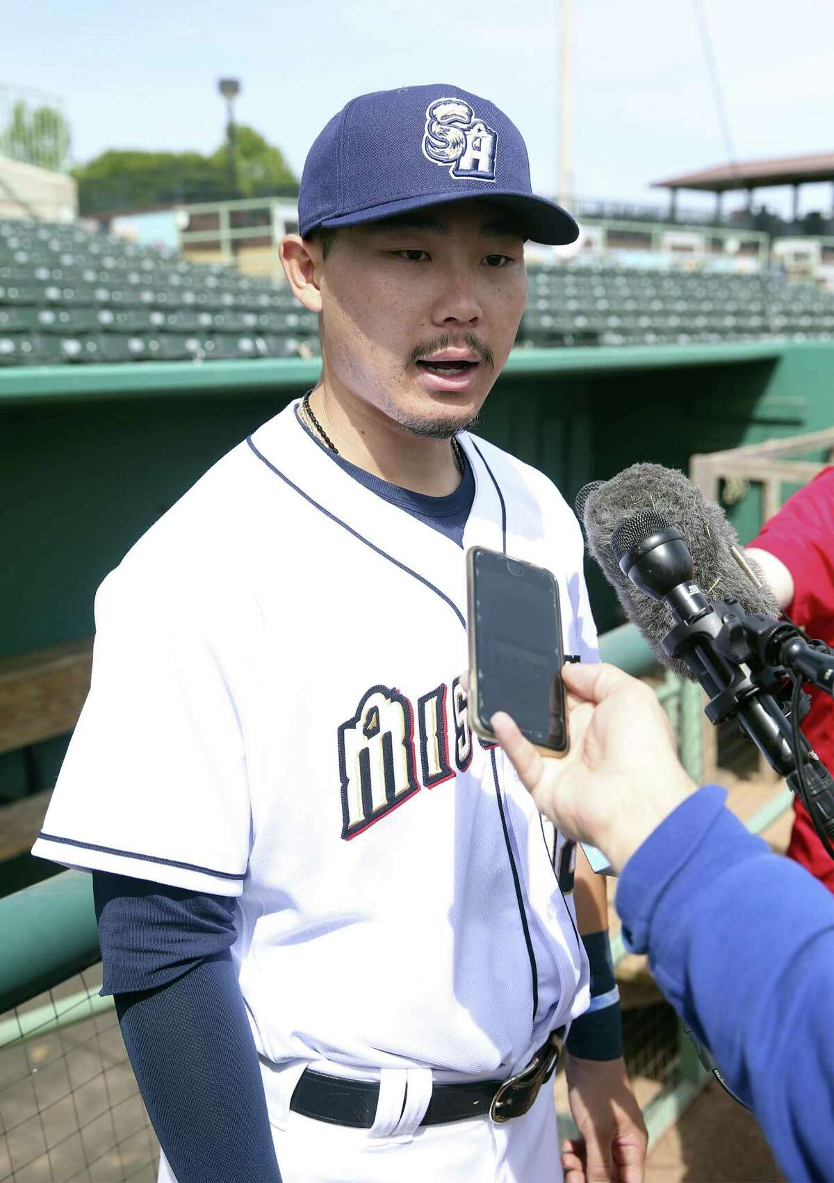 Keston Hiura answers reporter's questions as the San Antonio Missions workout at Wolff Stadium on April 2, 2019.