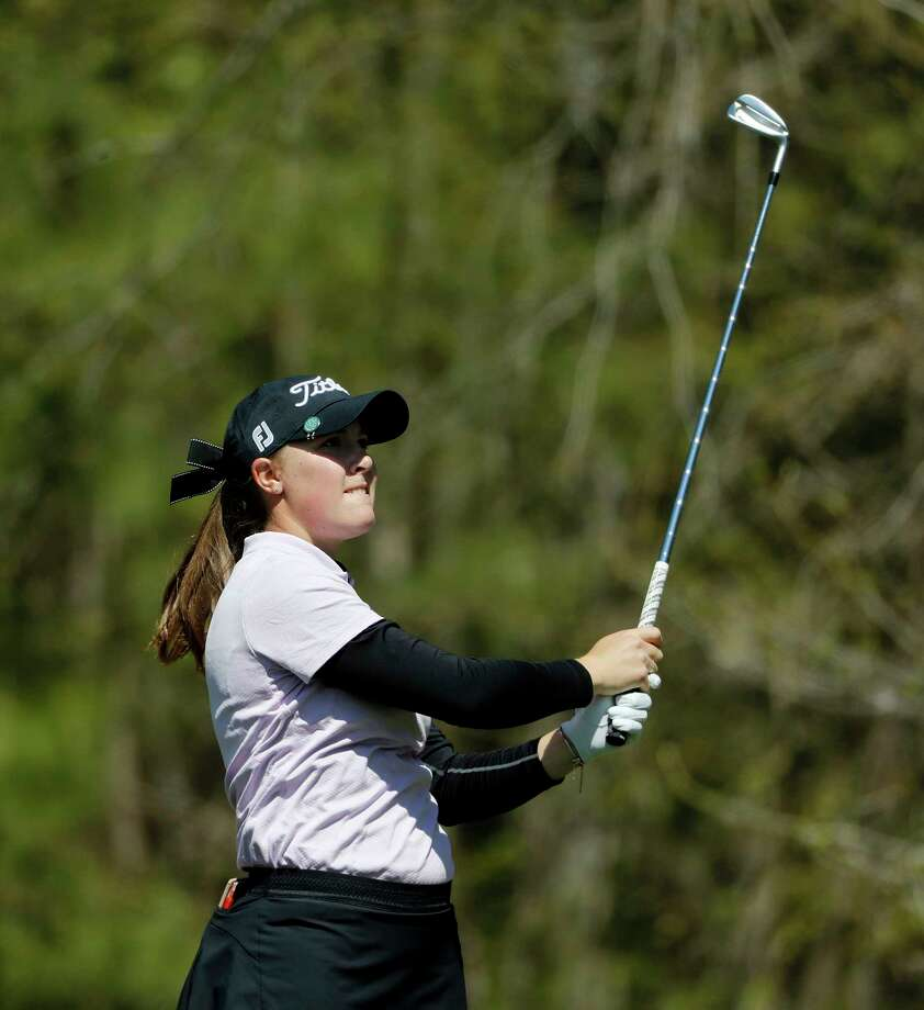 Jennifer Kupcho tees off the 11th hole during the first round of the Augusta National Women's Amateur golf tournament at Champions Retreat in Evans, Ga., Wednesday, April 3, 2019. (AP Photo/David Goldman) Photo: David Goldman / 2019 Associated Press. All rights reserved.