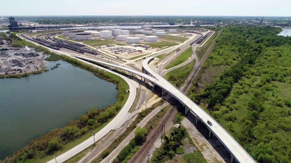 Recently opened to traffic, the Port of Beaumont's Orange County terminal overpass will allow road and rail traffic to operate simultaneously. Photo taken Tuesday, 4/2/19
