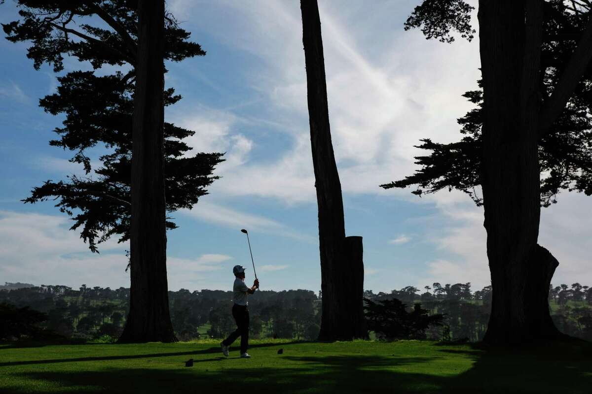 Evan Peterson, 22, takes a shot while playing in the final golf match of the San Francisco City Championship in San Francisco on Sunday, March 17, 2019.