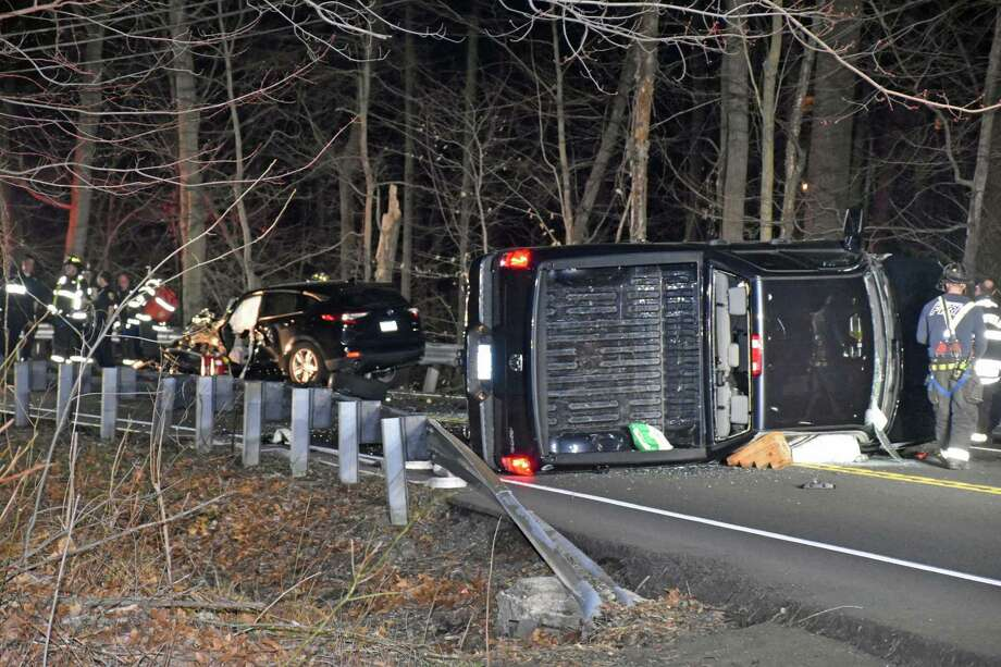 A crash on Black Rock Turnpike in Fairfield, Conn., on April 3, 2019. Photo: Contributed Photo / Connecticut Post Contributed