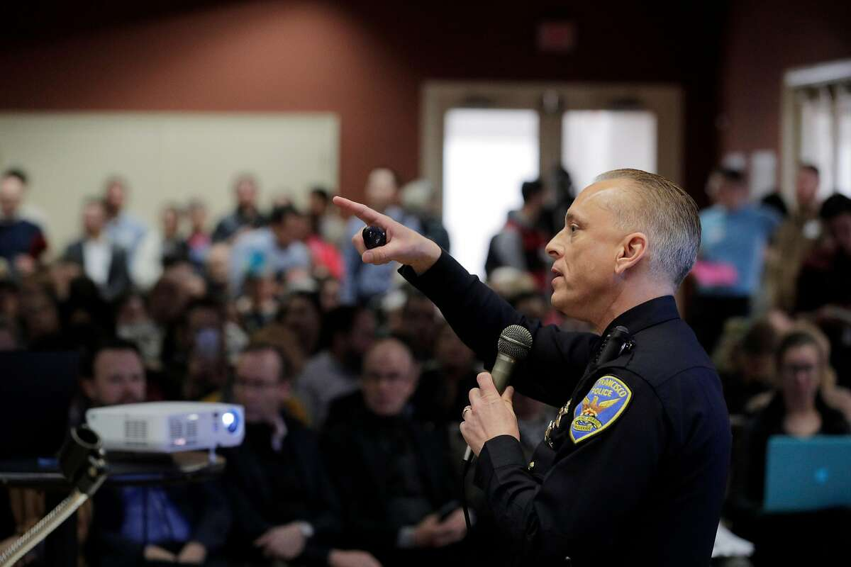 San Francisco Police Commander David Lazar with the Community Engagement Division speaks to the audience about safety concerns local residents have at the Delancey Street Foundation auditorium where city officials and neighborhood residents discussed a proposed navigation center for the homeless in San Francisco, Calif., on Wednesday, April 3, 2019.