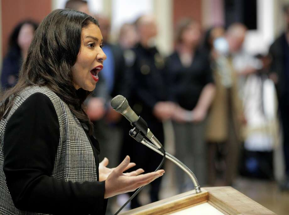 San Francisco Mayor London Breed tries to stop audience members from shouting as she addresses the crowd at the Delancey Street Foundation auditorium where city officials and neighborhood residents discussed a proposed navigation center for the homeless in San Francisco, Calif., on Wednesday, April 3, 2019. Photo: Carlos Avila Gonzalez, The Chronicle
