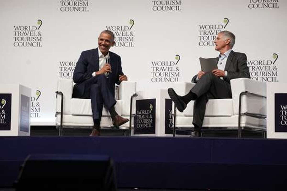 President Barack Obama talks travel at the World Travel And Tourism Council Global Summit in Seville, Spain, April 2019