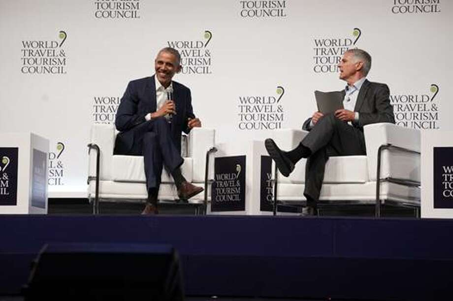 President Barack Obama talks travel at the World Travel And Tourism Council Global Summit in Seville, Spain, April 2019 Photo: WTTC