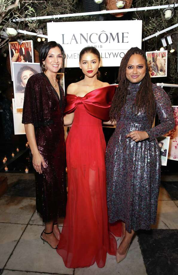 (L-R) Vanity Fair Editor-in-Chief Radhika Jones, Zendaya, Ava DuVernay attend Vanity Fair and Lancôme Toast Women In Hollywood on February 21, 2019 in West Hollywood, California. (Photo by Rachel Murray/Getty Images for Vanity Fair) Photo: Rachel Murray / Getty Images For Vanity Fair / 2019 Getty Images