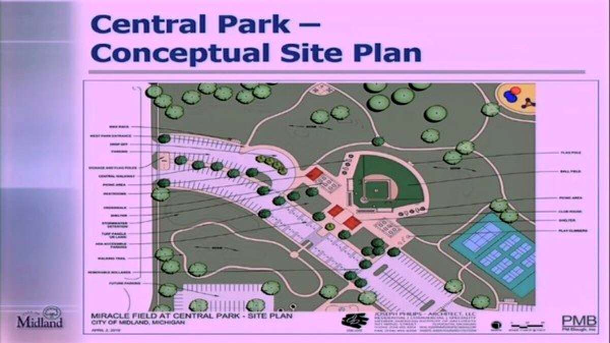 Site plans displayed a city slideshow exhibit where the Miracle Field would be located within Central Park in Midland. (Photo provided)