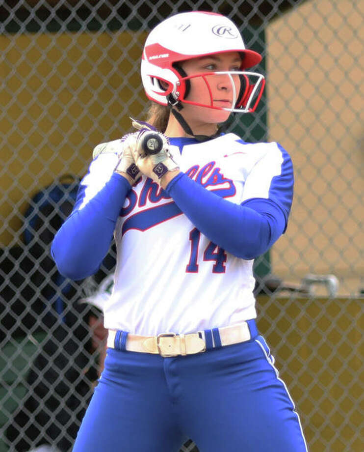 Roxana's Abi Stahlhut hit two home runs — with three intentional walks in between — and drove in six runs Wednesday in the Shells' win over EA-WR at Roxana Park. Photo: Greg Shashack / The Telegraph