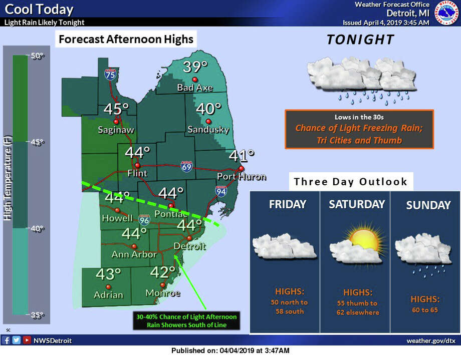 Thursday's afternoon temperatures. Chance of freezing rain overnight. Photo: National Weather Service Detroit