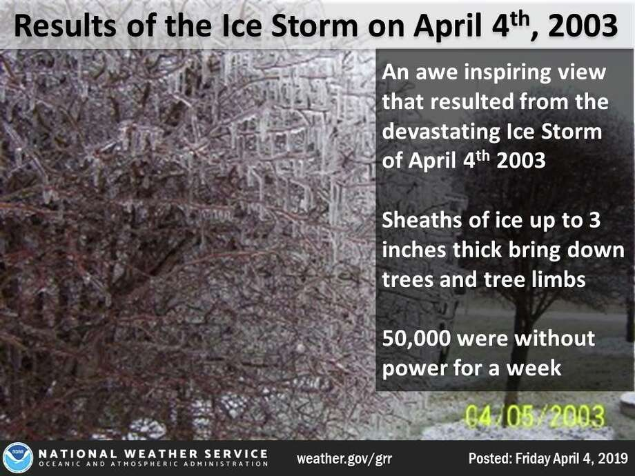 April 4, 2003: A devastating ice storm strikes central Lower Michigan. Heavy rain from thunderstorms falls into a layer of cold air near the ground and freezes on contact, creating sheaths of ice up to 3 inches thick that brings down thousands of tree limbs. It was estimated that 450,000 homes and businesses lost power during the storm and that nearly 50,000 people were without power for a week as persistent cold temperatures keep the heavy ice on the trees for 4 days after the storm. Crews came from four different states to help local utility companies restore power. Photo: National Weather Service Grand Rapids