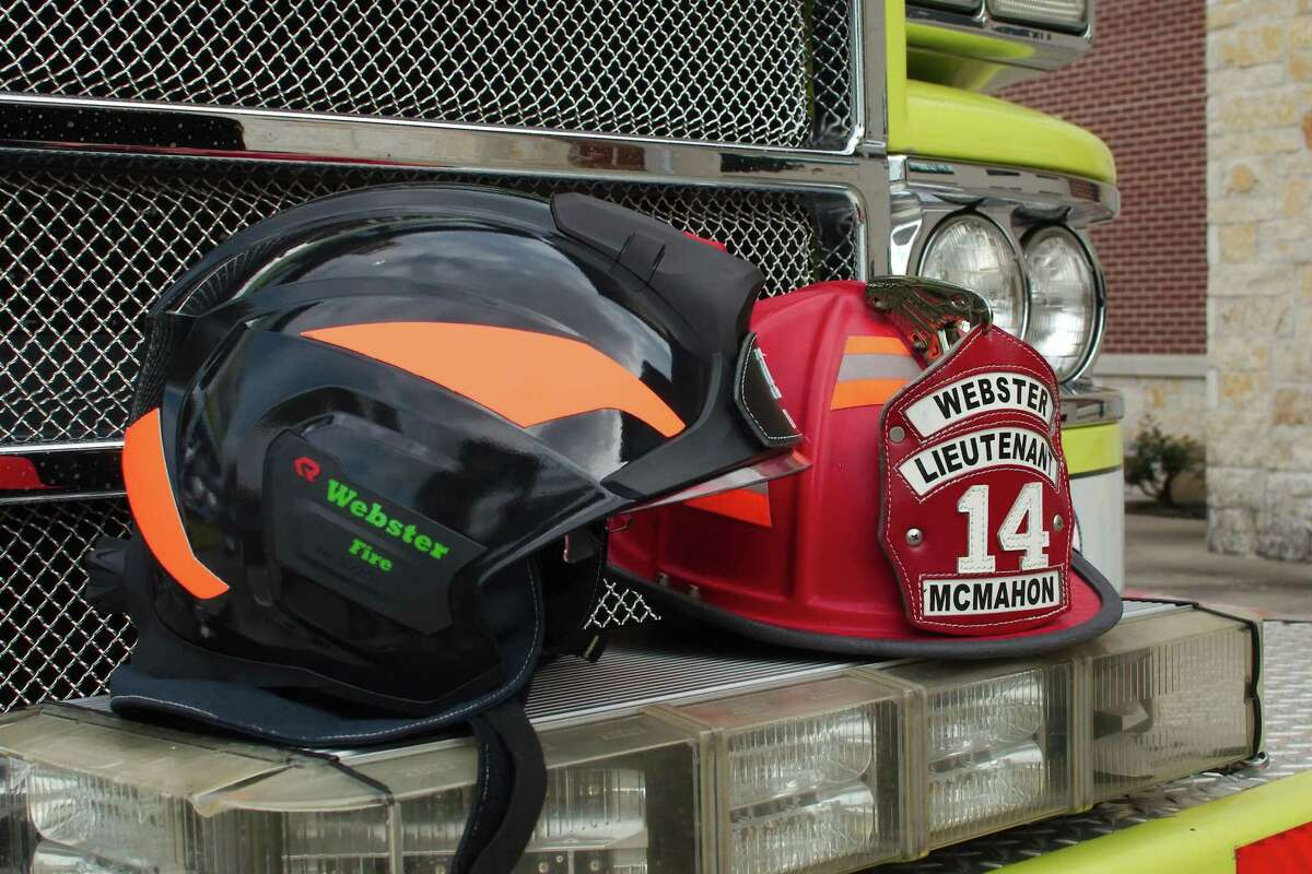 Webster Fire Department has replaced its traditional helmets with lighter, more technologically advanced ones, left.