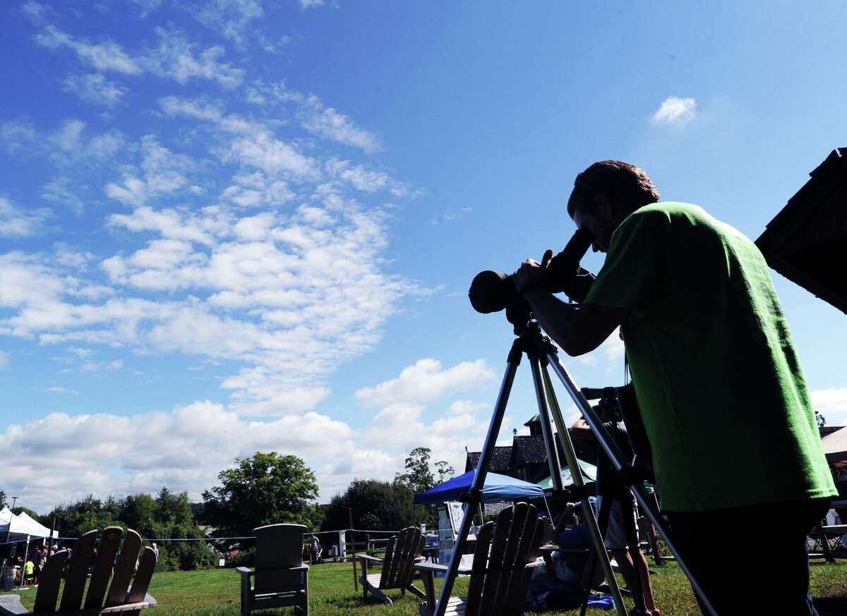 Audubon educator Brian O'Toole uses a telescope to count hawks last September. Join the Audubon Center in Greenwich for the Hawk Watch Kickoff and Raptor ID Workshop from 11 a.m. to 1 p.m. Sundayat its center at 613 Riversville Road. Learn how to identify and count the migrating hawks, eagles and falcons that pass over the area. Join Audubon naturalist Ryan MacLean for the kickoff of another hawk-watching season. After the introduction, participants will use binoculars to look for migrating raptors from Hawk Watch Lawn. All ages 6 and up are welcome. Cost is $5 for members, $8 for nonmembers. For questions and to RSVP, contact Ryan MacLean at rmaclean@audubon.org or 914-417-5234.