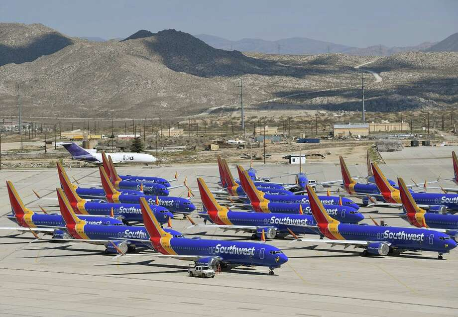 Southwest Airlines Boeing 737 Max planes are parked on the tarmac after being grounded. Photo: Mark Ralston/AFP/Getty Images