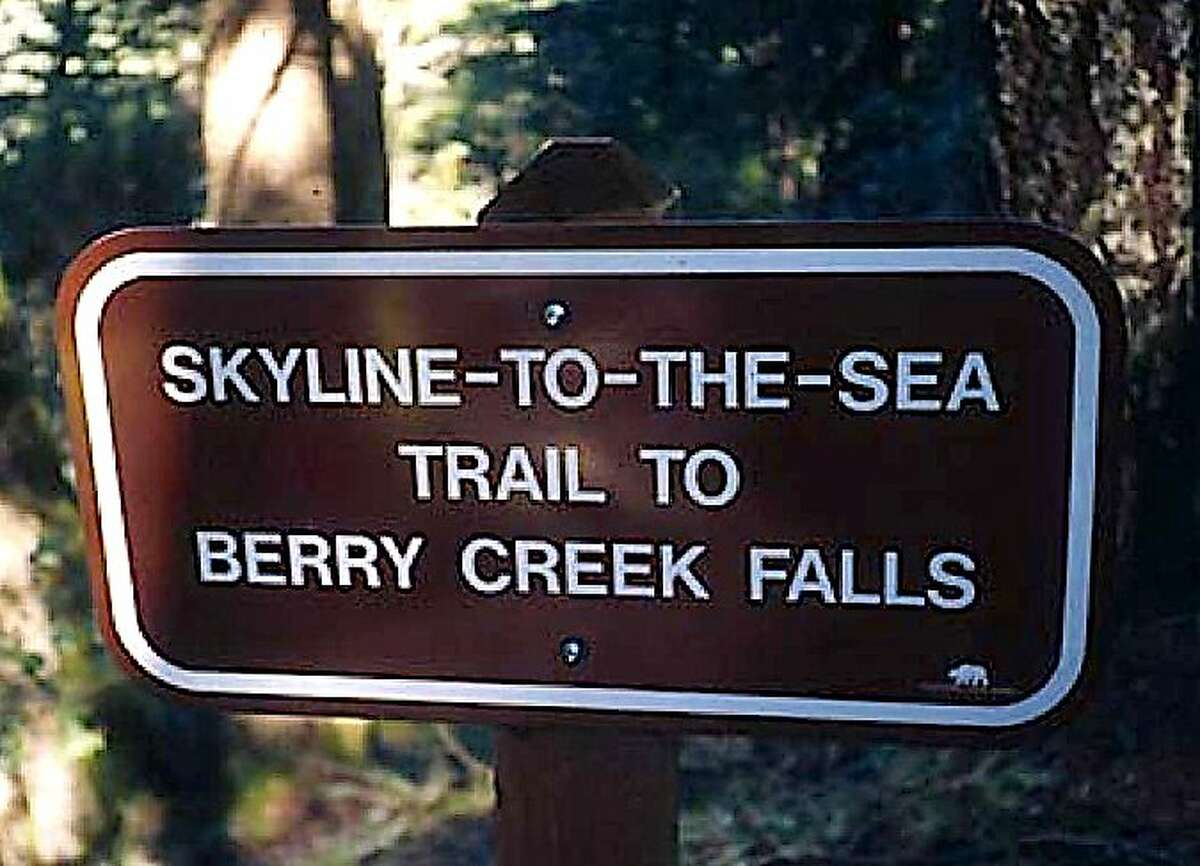 A sign in Big Basin Redwoods State Park marks the way for the 34-mile Skyline-to-the-Sea Trail