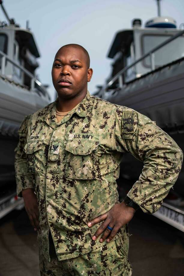 Petty Officer 3rd Class Darrin Gipson of Houston is serving in the U.S. Navy with Explosive Ordnance Disposal Expeditionary Support Unit One, operating out of San Diego. Photo: Photo ByArthurgwainMarquez / Mass Communication Specialist 1st Class