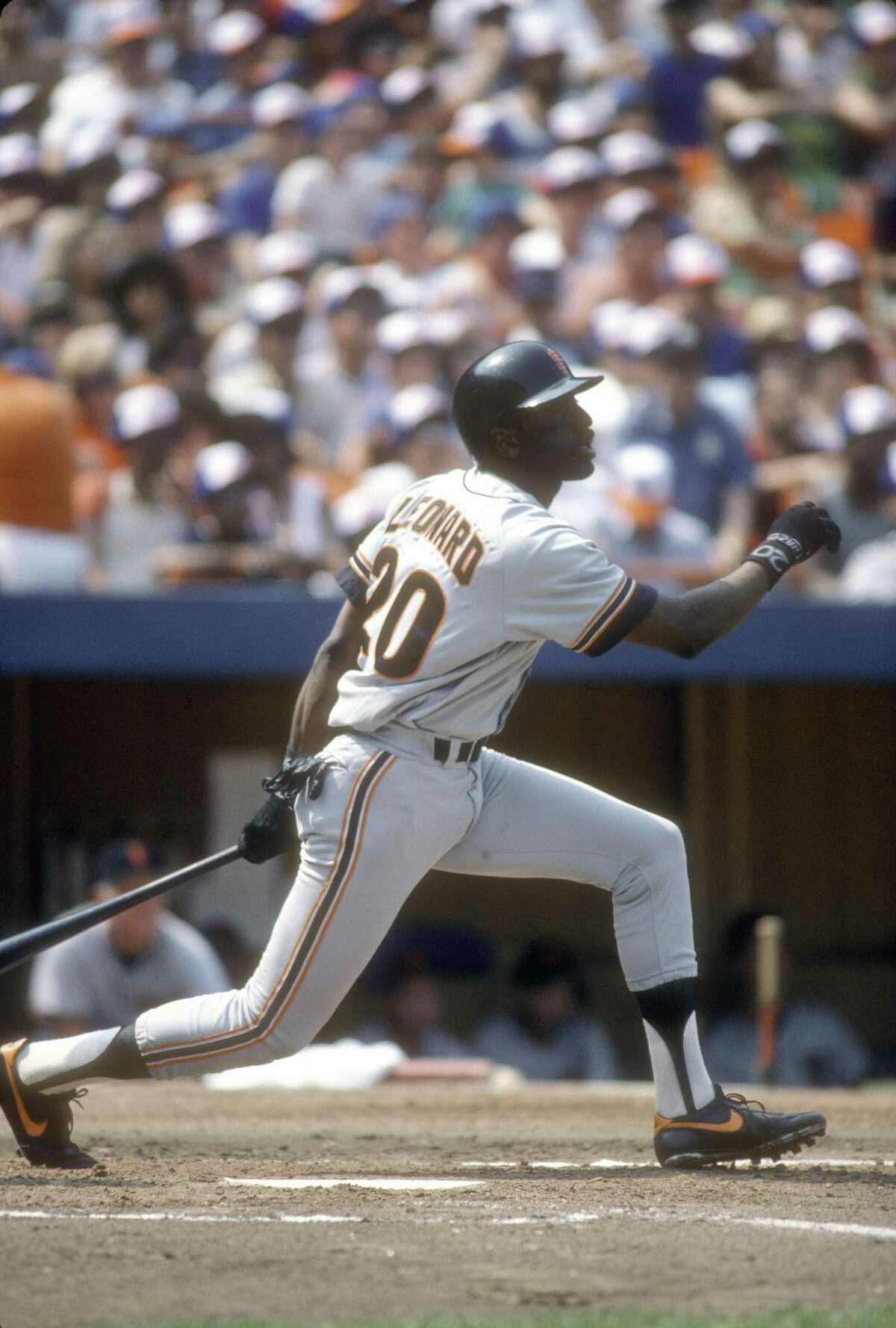 Jeffrey Leonard of the San Francisco Giants bats against the New York Mets during a 1986 game at Shea Stadium.