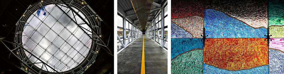 BART's new Milpitas Station features eye-catching designs including a skylight, pedestrian bridge and stained-glass artwork patterned after the Diablo foothills. Photo: Gabrielle Lurie / The Chronicle