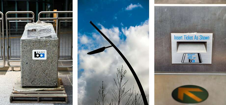 Details from the new Milpitas BART: 1. New trash bin 2. Street lamp 3.  Turnstile Photo: Gabrielle Lurie / The Chronicle