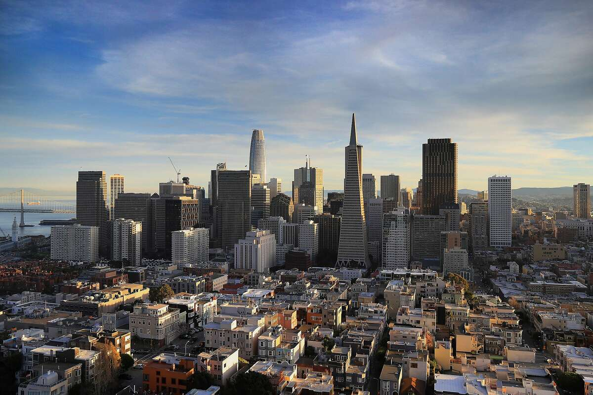 FILE - The San Francisco skyline, Feb. 9, 2018. As Airbnb, Uber and other companies�go public, the Bay Area's newly minted millionaires are going to be hungry for�parties, houses, boats and ice sculptures. (Jim Wilson/The New York Times)