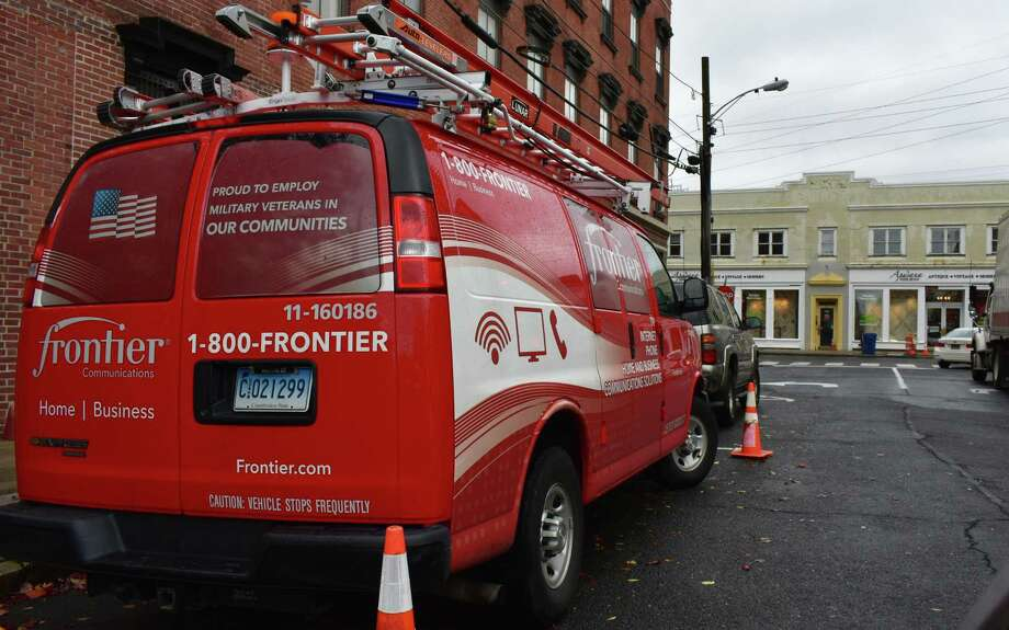 A Frontier Communications van in Norwalk, where the broadband giant has its headquarters. Photo: Alexander Soule / Hearst Connecticut Media / Stamford Advocate