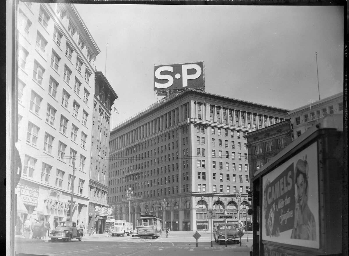 The old Southern Pacific downtown building with the large SP sign in San Francisco Photo shot 04/21/1954