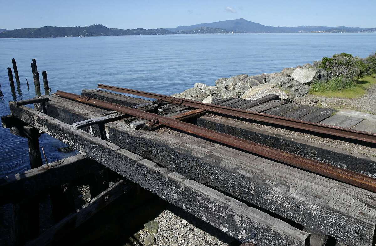 A section of an historic railway terminal remains at Ferry Point in the Miller/Knox Regional Shoreline in Richmond, Calif. on Saturday, March 30, 2019. The East Bay Regional Park District wants to remove other abandoned sections of railroad tracks but the BNSF Railway Company wants to reactivate a portion of the spur.