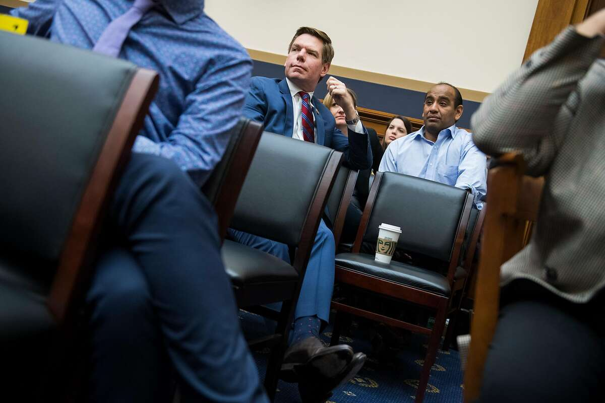 UNITED STATES - APRIL 3: Rep. Eric Swalwell, D-Calif., sits in the audience during a House Judiciary Committee markup in Rayburn Building on a resolution to authorize the issuance of subpoenas to obtain the full Robert Mueller report on Wednesday, April 3, 2019. (Photo By Tom Williams/CQ Roll Call)
