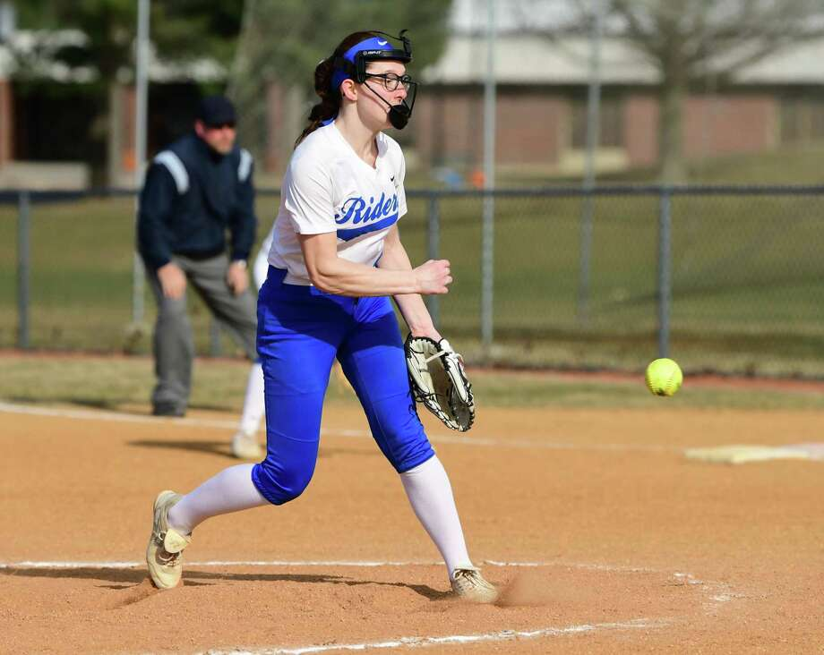Ichabod Crane pitcher Bella Milazzo throws the ball during a softball game against Holy Names on Thursday, April 4, 2019 in Valatie, N.Y. (Lori Van Buren/Times Union) Photo: Lori Van Buren, Albany Times Union / 40046590A
