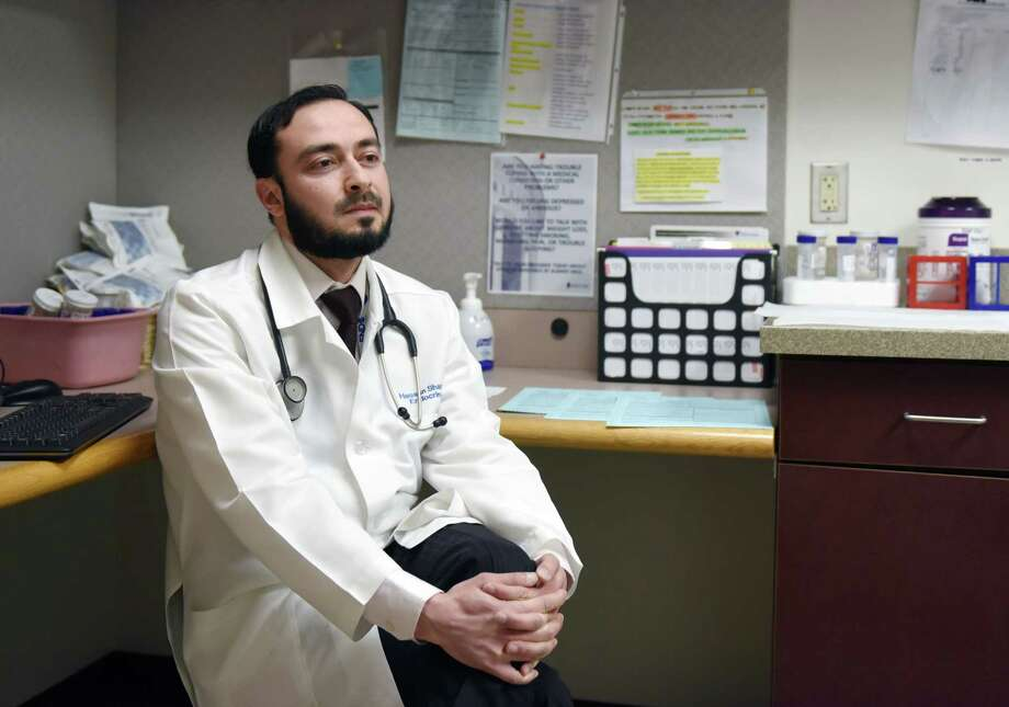 Dr. Hassan Shawa speaks about his experience as an immigrant and physician on Thursday, April 4, 2019 at Albany Medical South Clinical Campus in Albany, NY. (Phoebe Sheehan/Times Union) Photo: Phoebe Sheehan, Albany Times Union / 40046592A