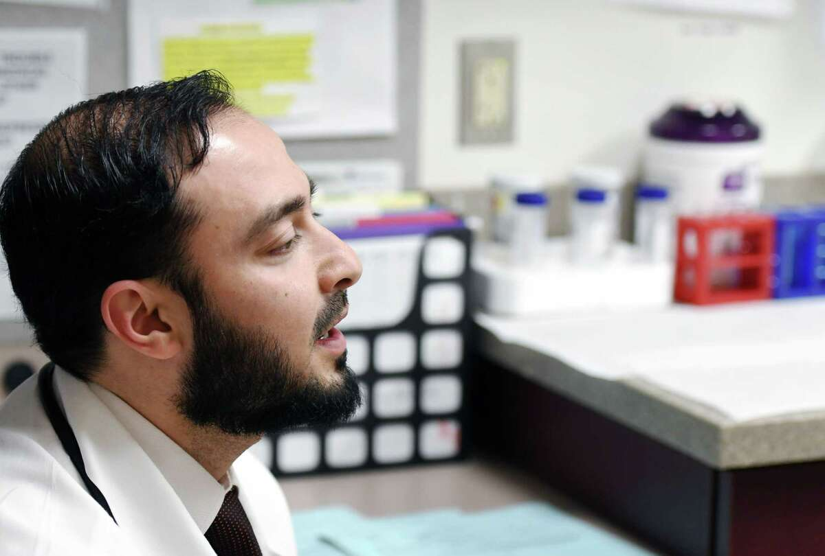 Dr. Hassan Shawa speaks about his experience as an immigrant and physician on Thursday, April 4, 2019 at Albany Medical South Clinical Campus in Albany, NY. (Phoebe Sheehan/Times Union)