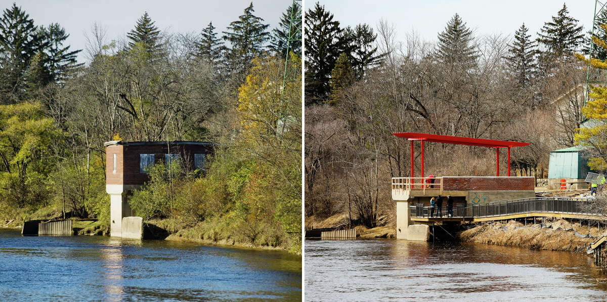 Left: The former pumphouse that pre-dated World War II and was located at Upper Emerson Park is seen along the Tittabawassee River on Wednesday, Nov. 8, 2017. Right: Construction continues on the updated structure, a river outlook, on Thursday afternoon. (Katy Kildee/kkildee@mdn.net)
