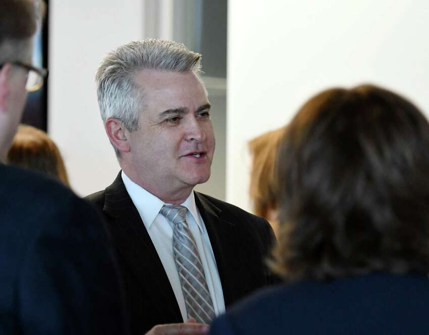 Steve McLaughlin speaks with attendees during Datto's new company launch on Thursday, April 4, 2019 in East Greenbush, NY. (Phoebe Sheehan/Times Union)
