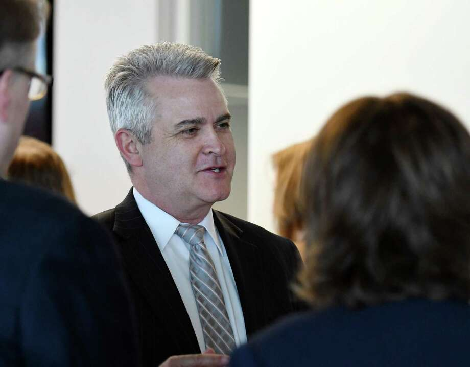 Steve McLaughlin speaks with attendees during Datto's new company launch on Thursday, April 4, 2019 in East Greenbush, NY. (Phoebe Sheehan/Times Union) Photo: Phoebe Sheehan, Albany Times Union / 40046588A