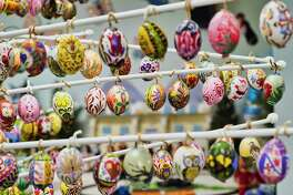 Hand painted eggs created by Mildred Vroman are seen hanging on an egg tree inside the Schoharie Easter Egg Museum on Monday, April 1, 2019, in Schoharie New York. (Paul Buckowski/Times Union)