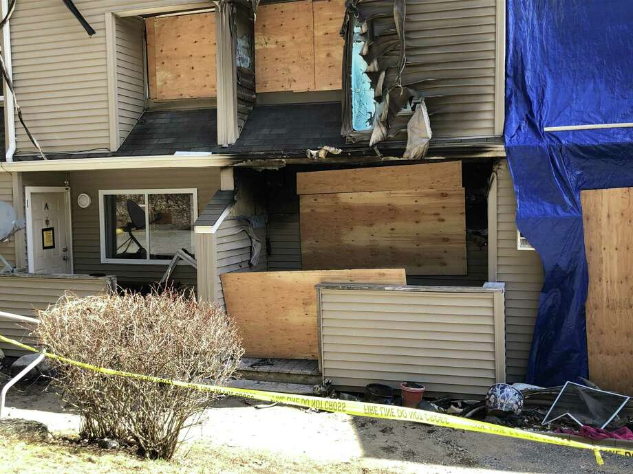 A majority of the tenants in the fire-damaged building at Woodland Hills Apartments, who were displaced on April 1, will be housed in other apartments in the complex while repairs are made. Photo: Leslie Hutchison / Hearst Connecticut Media /