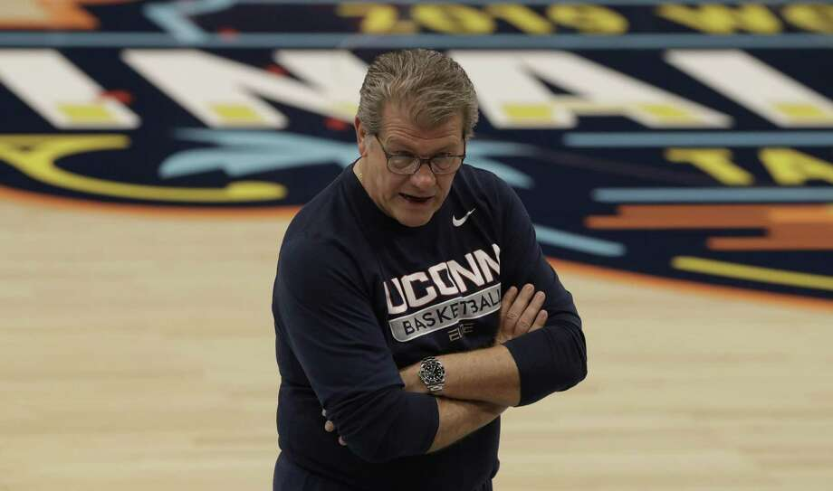 UConn coach Geno Auriemma watches practice at the women's Final Four on Thursday in Tampa, Fla. UConn faces Notre Dame on Friday. Photo: Chris O'Meara / Associated Press / Copyright 2019 The Associated Press. All rights reserved.
