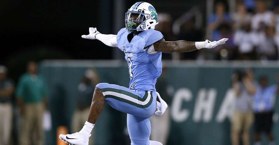 PHOTOS: Free agents Donnie Lewis Jr. #1 of the Tulane Green Wave reacts during a game against the Wake Forest Demon Deacons on August 30, 2018 in New Orleans, Louisiana.  (Photo by Jonathan Bachman/Getty Images) Browse through the photos to see the best available free agents in the NFL this offseason. Photo: Jonathan Bachman/Getty Images