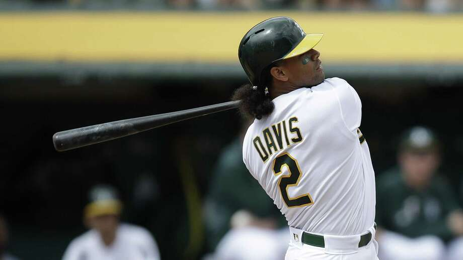PHOTOS: Astros game-by-game Oakland DH Khris Davis is tied for the MLB lead with five homers after topping the majors with 48 a year ago. Browse through the photos to see how the Astros have fared in each game this season. Photo: Ben Margot, STF / Associated Press / Copyright 2019 The Associated Press. All rights reserved.