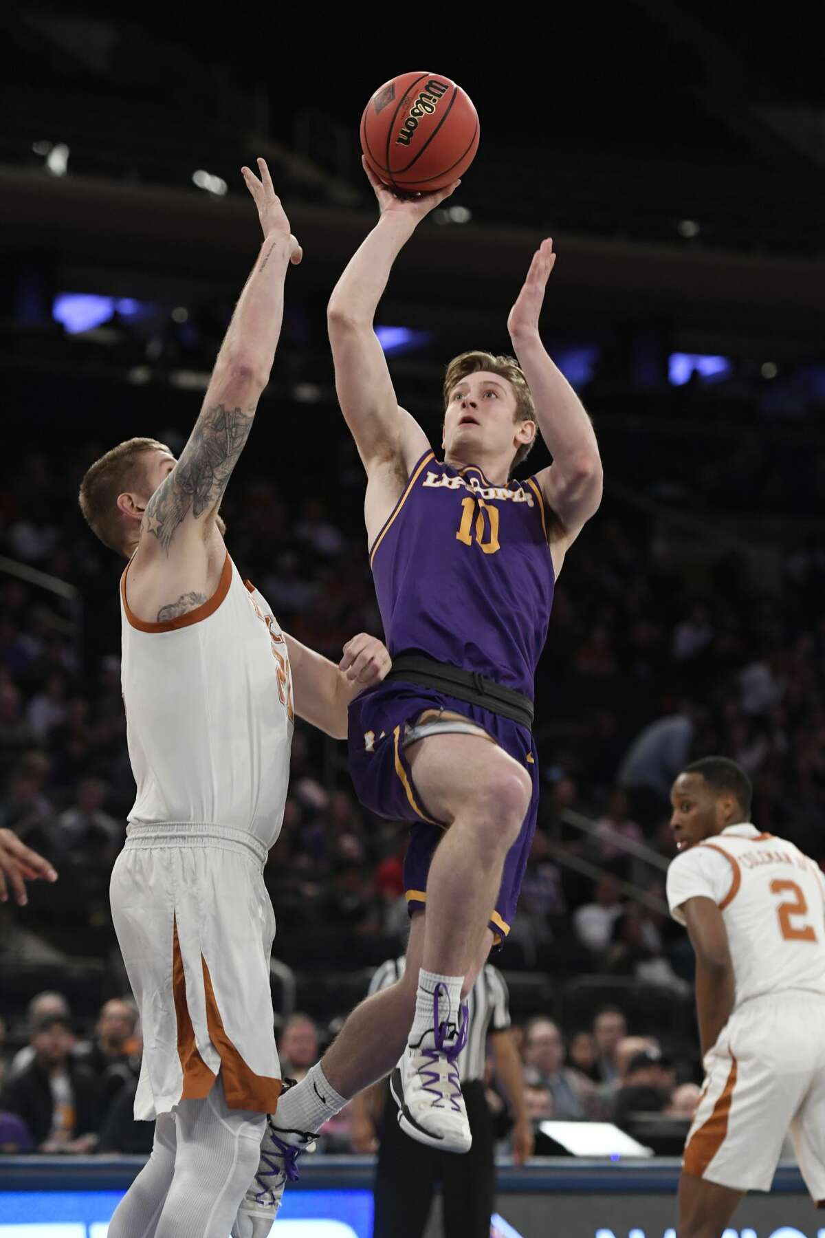 NEW YORK, NEW YORK - APRIL 04: Jake Wolfe #10 of the Lipscomb Bisons shoots the ball during the second half of the game against the Texas Longhorns at Madison Square Garden on April 04, 2019 in New York City. (Photo by Sarah Stier/Getty Images)