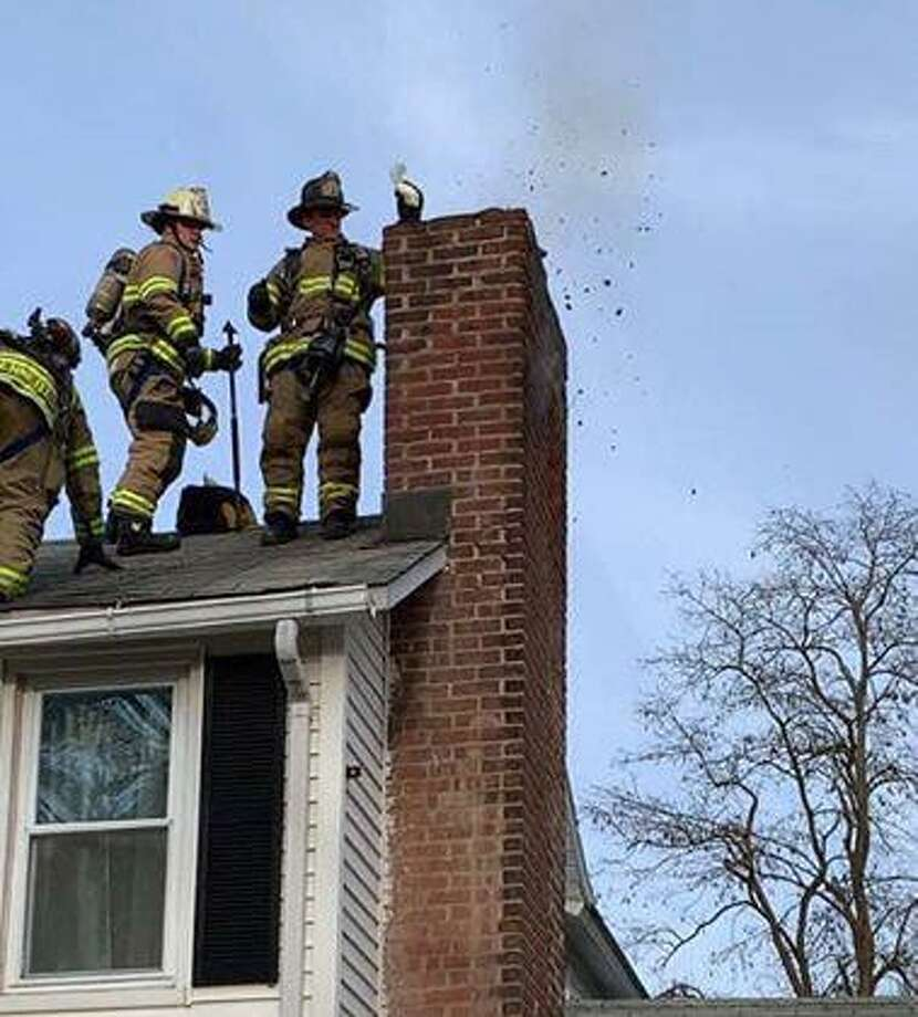"""A chimney that was that was """"severely clogged with creosote"""" sparked a fire in Bethel on Thursday, April 4, 2019. Photo: Photo Credit @Chelsea Berg"""