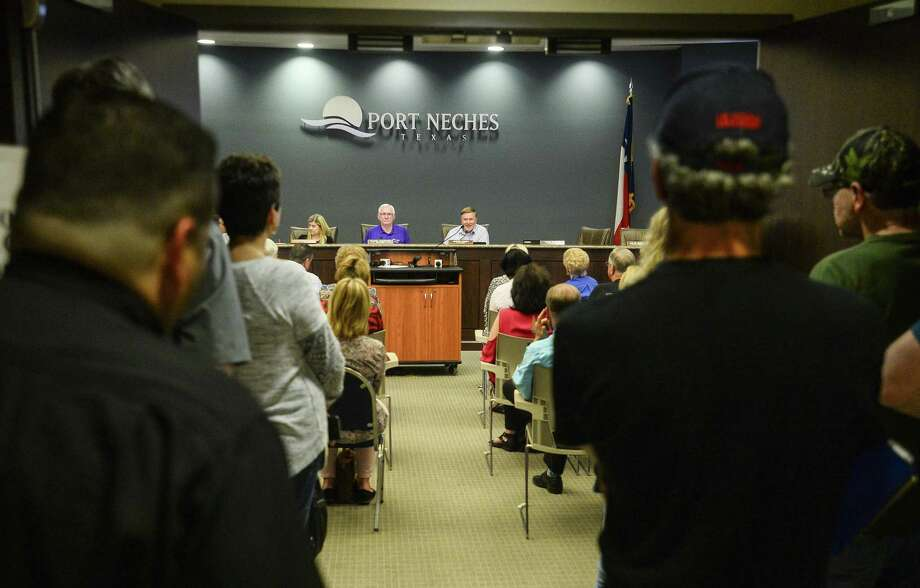 Citizen from Port Neches fill City Council's meeting Thursday where members of the public voiced their opinions and concerns with the Southeast Texas Mardi Gras possibly moving from Port Arthur to Port Neches's Riverfront Park. Photo taken on Thursday, 04/04/19. Ryan Welch/The Enterprise Photo: Ryan Welch / The Enterprise / ©Ryan Welch