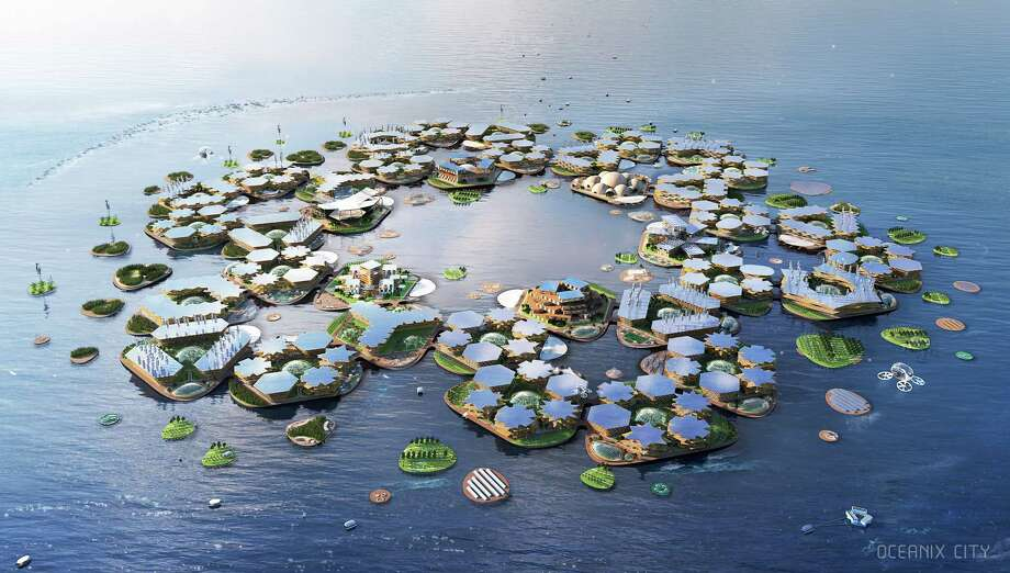A rendering of an Oceanix floating city as seen from above. Photo: Photo Courtesy Of Oceanix/Bjarke Ingels Group. / The Washington Post