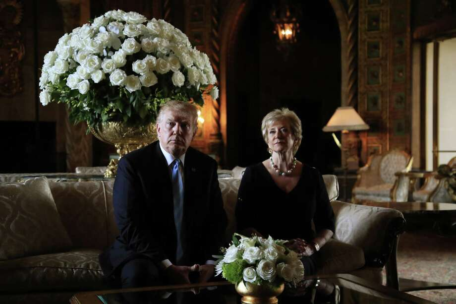 President Donald Trump announces the resignation of Small Business Administration Administrator Linda McMahon during a news conference at his Mar-a-Lago estate in Palm Beach, Fla., last month. She is joining the campaign to help with Trump's re-election effort. Photo: Associated Press / Copyright 2019 The Associated Press. All rights reserved.