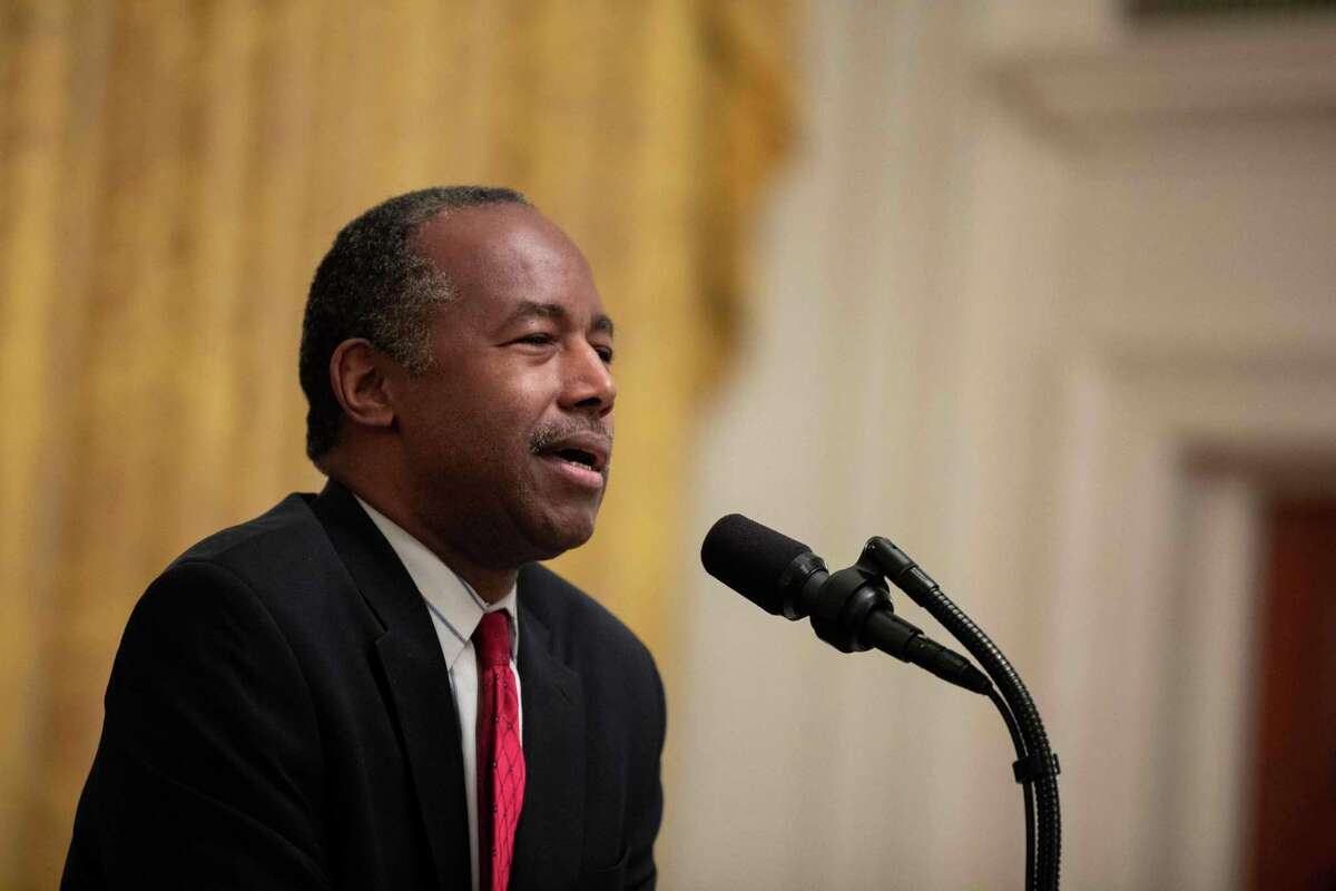 FILE - U.S. Secretary of Housing and Urban Development Ben Carson addresses the Young Black Leadership Summit at the White House in Washington, D.C., last year.