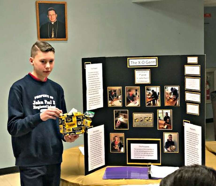 Middletown's St. John Paul II Regional Catholic School continues its STREAM initiative. Students competed in the Invention Convention recently. Shown here is Will Despres explaining his project. Photo: Contributed Photo