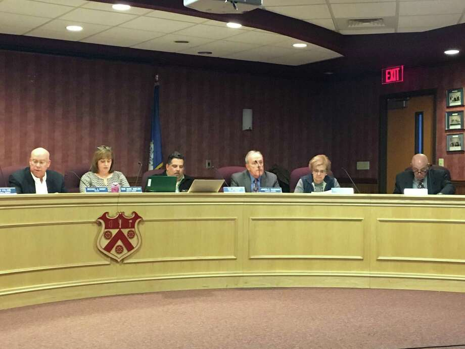 In this file photo, members of the North Branford Town Council sit in their chambers on April 4, 2019. From  Mayor Michael Doody, Deputy Mayor Rose Marie Angeloni, Thomas Zampano,  Joseph Faughnan,  Marie Diamond and George Miller. Not pictured are Anthony Candelora, Robert Viglione and Alfred Rose. Photo: Meghan Friedmann / Hearst Connecticut Media