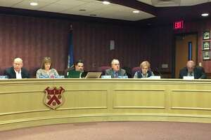 North Branford Town Council members, from left, Mayor Michael Doody, Deputy Mayor Rose Marie Angeloni,  Thomas Zampano, Joseph Faughnan, Marie Diamond and George Miller in chambers during budget deliberations in early April. Not pictured are council members Anthony Candelora, Robert Viglione and Alfred Rose.