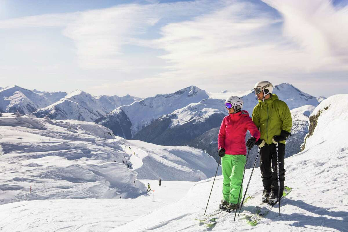 Skiers take in the Seventh Heaven area on Blackcomb Mountain in the Whistler resort in British Columbia.